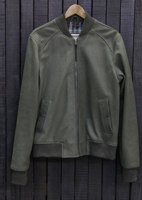 BOMBER LEATHER GREEN