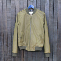 BOMBER 002 - LEATHER - KAKI