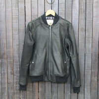 BOMBER 002 - LEATHER - BLACK