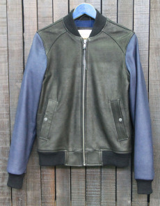 BOMBER 005 - LEATHER - BLACK/BLUE