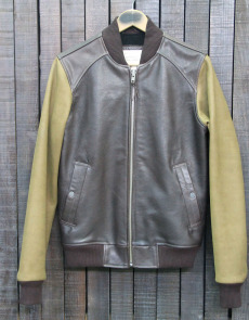 BOMBER 007 - LEATHER - BROWN/KAKI
